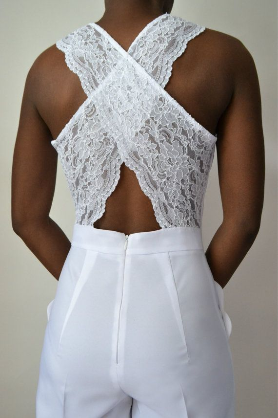 Rebecca Scallop Lace Back Bridal Jumpsuit by DanielaTabois on Etsy