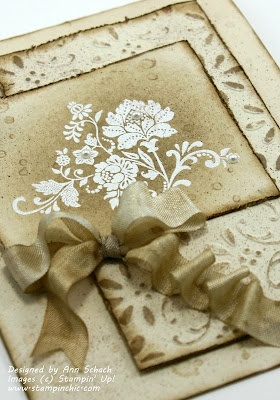 Ann Schach's Simple distressed card uses SUO!  She's got a great how to video on her blog!