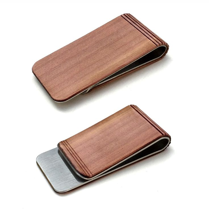 TIMBER money clip with a stainless steel body with real wood finish. 100%  sustainably