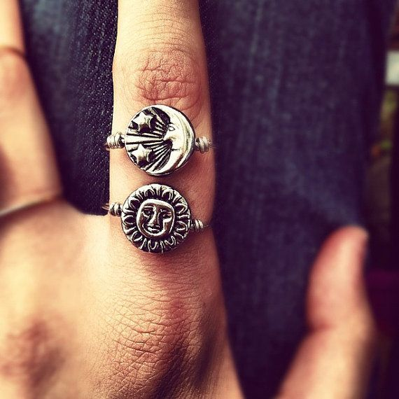 Reversible Silver Sun and Moon Ring #moonjewelry
