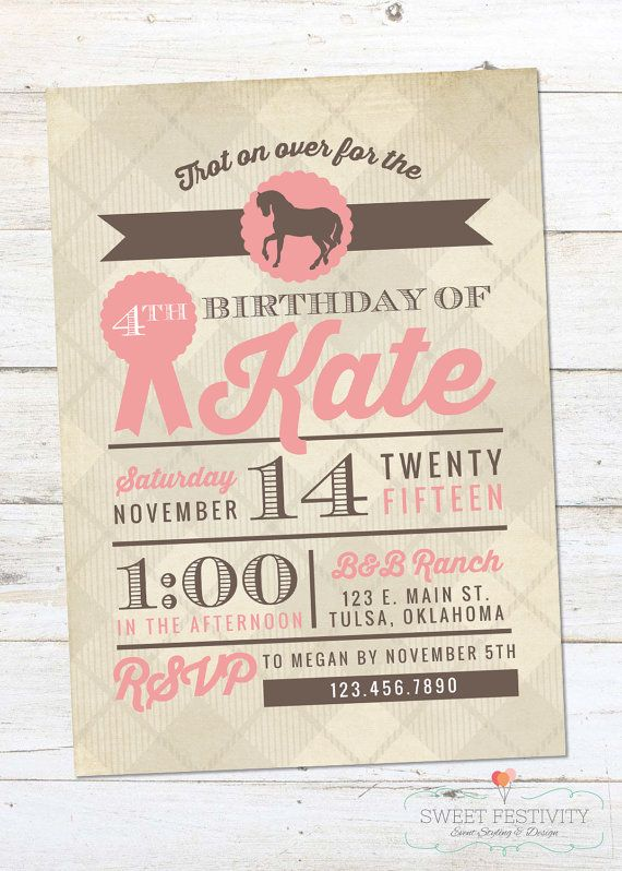 girls equestrian horse birthday party invitation by sweetfestivity - Horse Party Invitations