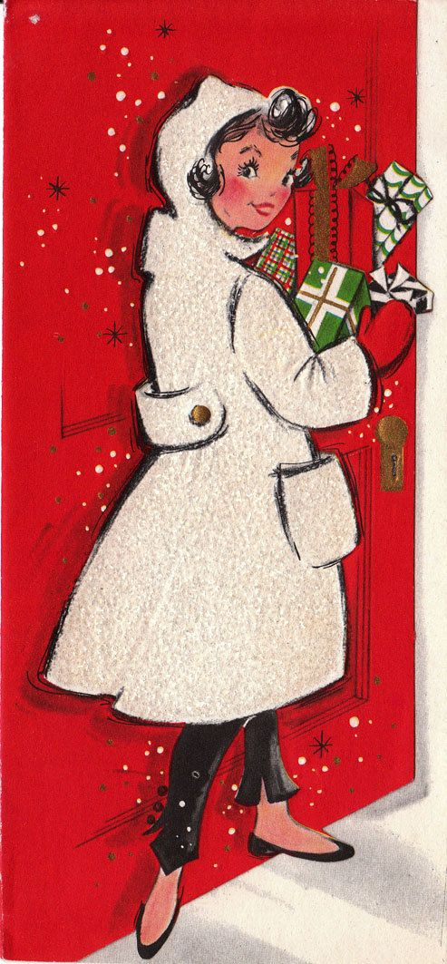1960s Christmas Greetings: Vintage Christmas Cards, 1960S Christmas, White Coats, Christmas Girls, Christmas Greeting, Christmas Decor, Greeting Card, Christmas Vintage, Vintage Cards