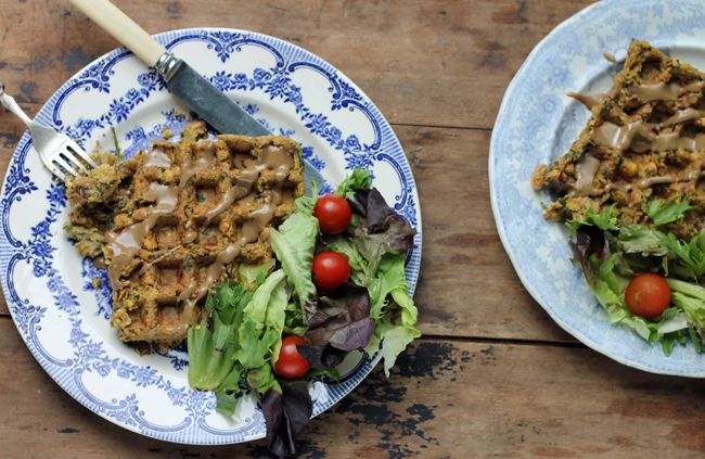 You can waffle falafels! All that crispiness, without the oil. A soft, flavoursome, spiced falafel and you don't even need a carby pitta to tuck them into.
