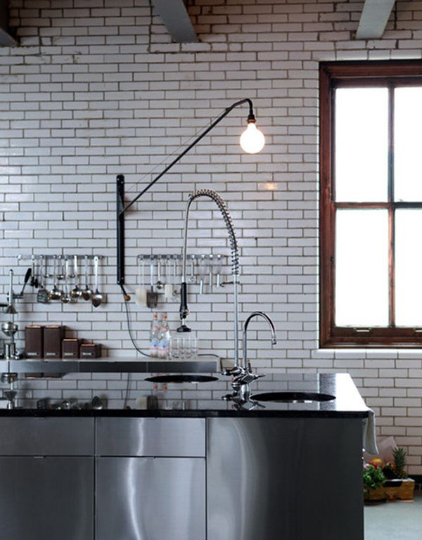 Stainless Steel and tile + Prouve Lamp