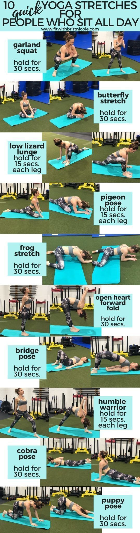 10 Quick Yoga Stretches for Women Who Sit All Day Hier sind 10 kurze Yogastrecke…