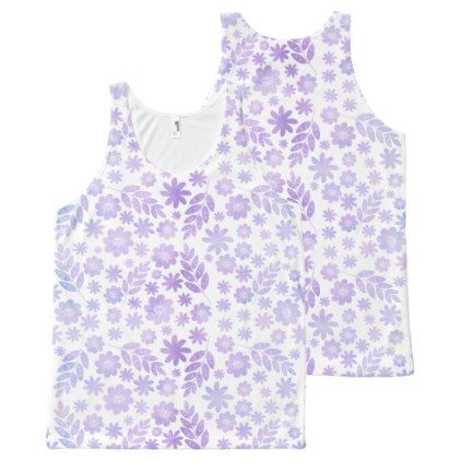 Lavender Hand Drawn Floral Pattern All-Over-Print Tank Top - patterns pattern special unique design gift idea diy