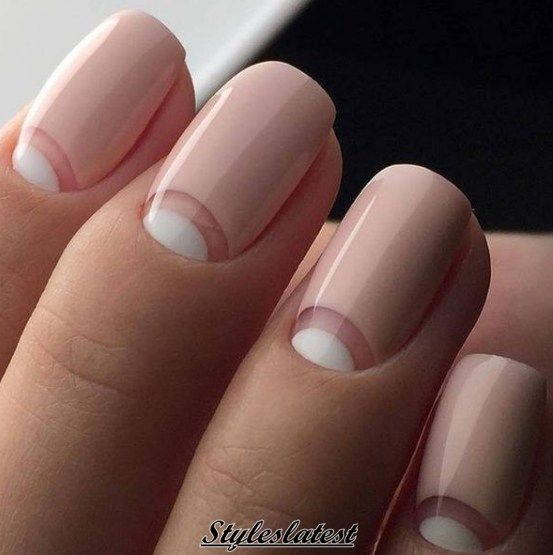 love these nude + white negative space nails - half moon - negative space - modern - nail art - manicure