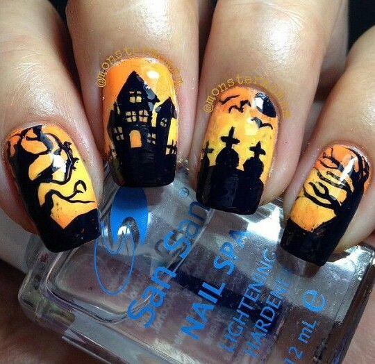 Yellow Halloween nail idea