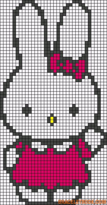 Free Miffy Bunny Hama Perler Bead Pattern or Cross Stitch Chart