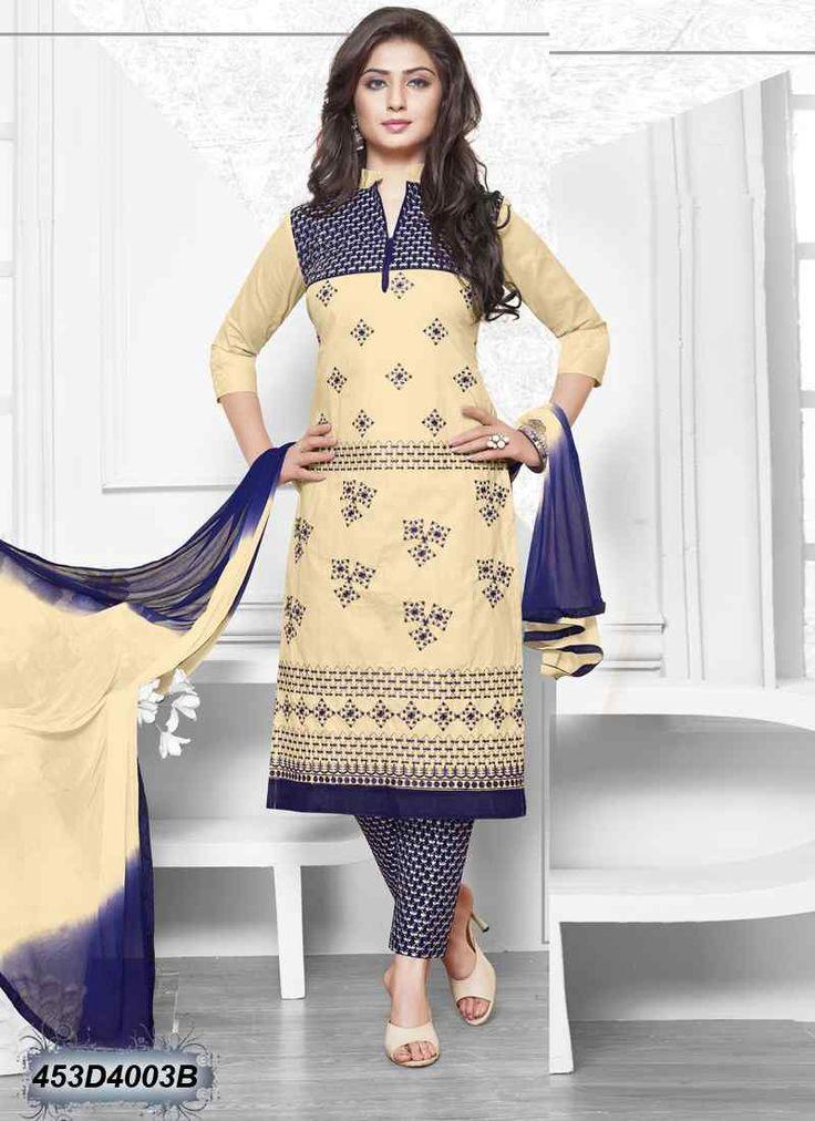 Elegant Cream Coloured Cambric Cotton Unstitched Salwar Suit
