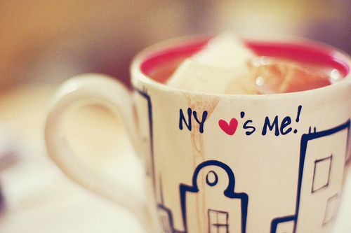 This cup is cute...despite the grammar error.    NY loves me, and I love NY.. coffee mug!