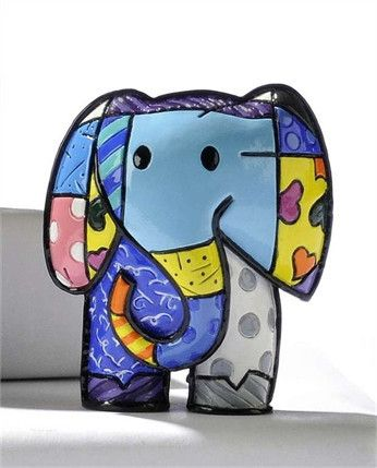 ROMERO BRITTO MINIATURE LUCKY ELEPHANT FIGURINE
