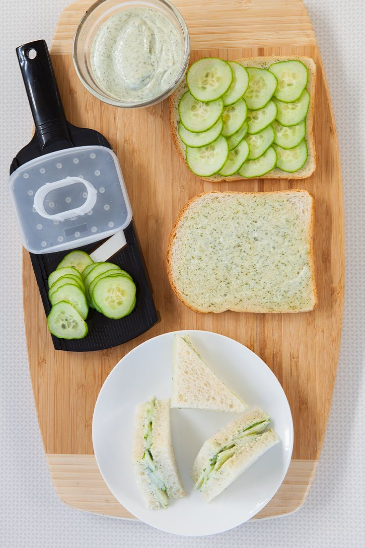 Epicure Lemon Aioli Cucumber Tea Sandwiches—Low calorie and delightful! Aioli and cucumber are a fresh pair.