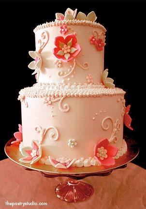 love the coral color would be a great bday , of bridal shower cake or wedding cake if it had a few more tiers or engagement party cake