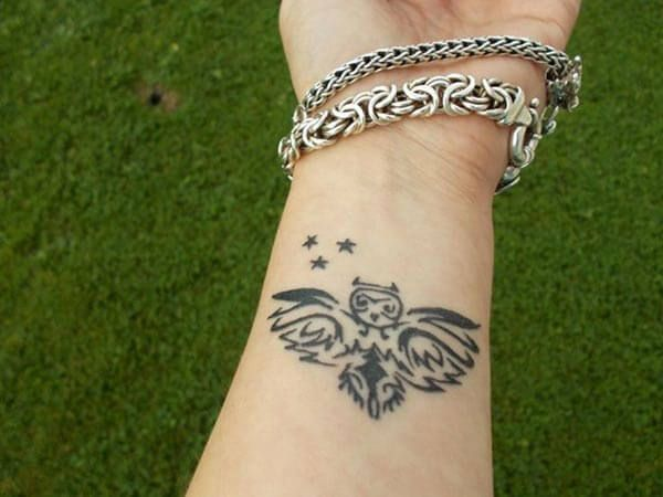 baykuş bilek dövmesi wrist owl tattoo