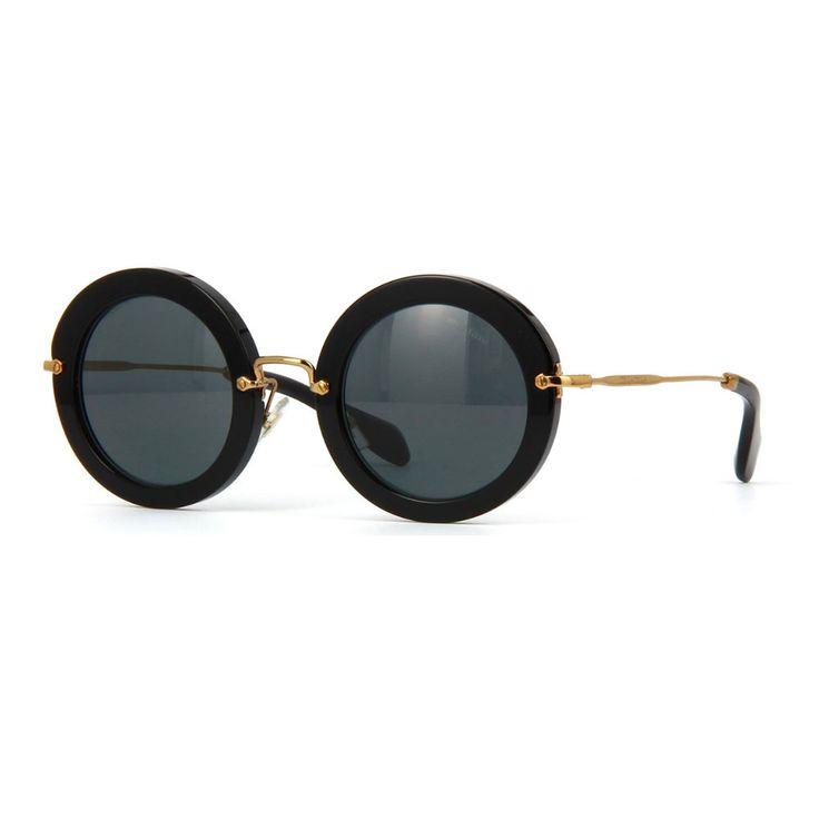 """Occhiali da sole Miu Miu Noir modello MU13NS 1AB1A1. Occhiale donna con montatura design """"full circle"""" di colore nero. Aste in metallo anticato color orocon logo lettering e lenti di colore grigio.   http://www.cheocchiali.com/prodotti/occhiale-da-sole-miu-miu-noir-mu13ns-1ab1a1"""