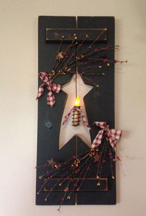 Primitive Shutter with Candle and Berries by FarmWivesCollections