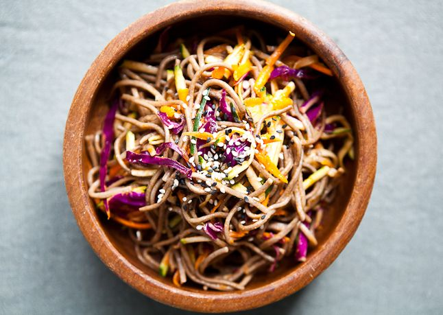 Soba Noodle Salad Mix 1 Tbsp. Sriracha, 1 Tbsp. canola oil, 1 Tbsp. rice vinegar, and 1 Tbsp. sesame oil in a large bowl. Toss with one 8-oz...