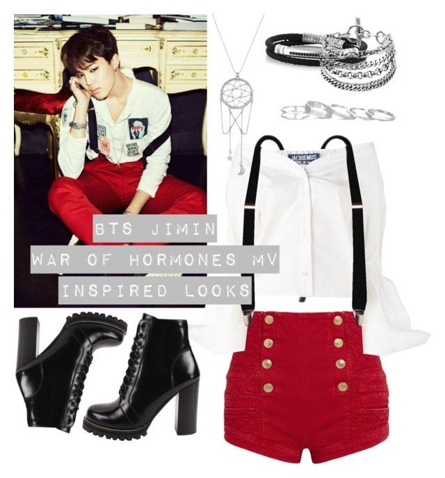 """""""BTS Jimin War of Hormones MV Inspired Looks #Inspired Fashion"""" by bluemoon019 on Polyvore featuring Pierre Balmain, Jacquemus, Jeffrey Campbell, Kendra Scott and ChloBo"""