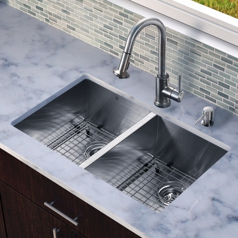 vigo all in one undermount stainless steel double bowl kitchen sink and faucet set - Kitchen Sink And Faucet Sets