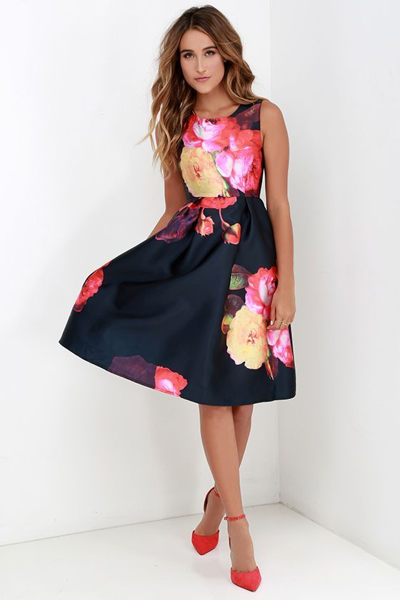 Ballroom Bloom Navy Blue Floral Print Midi Dress
