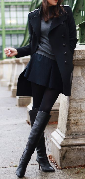 long coat, short skirt with tights and tall boots