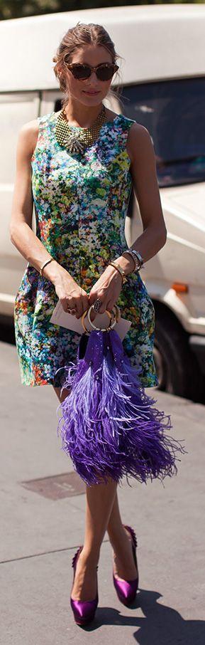 Purple Feather Handbag