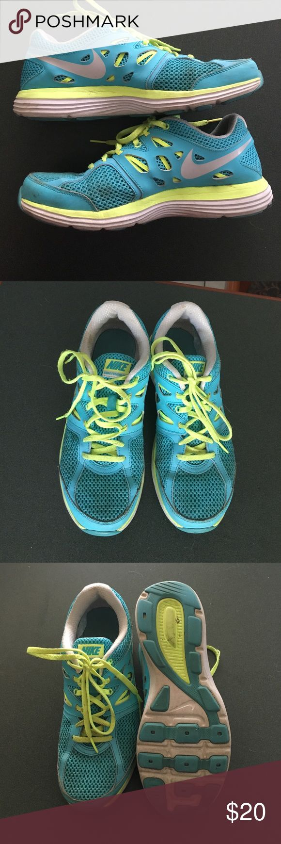 Nike Dual Fusion Nike Dual Fusions blue and lime green! Nike Shoes Athletic Shoes