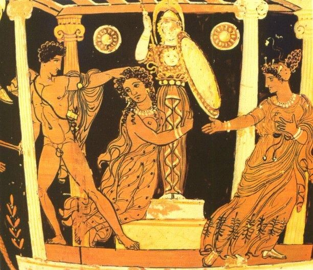 Ajax (Lesser) prepares to drag the naked Cassandra away from the statue of Athena where she has sought sanctuary. Red figure painting, c. 370-360 BCE Lycurgus Painter