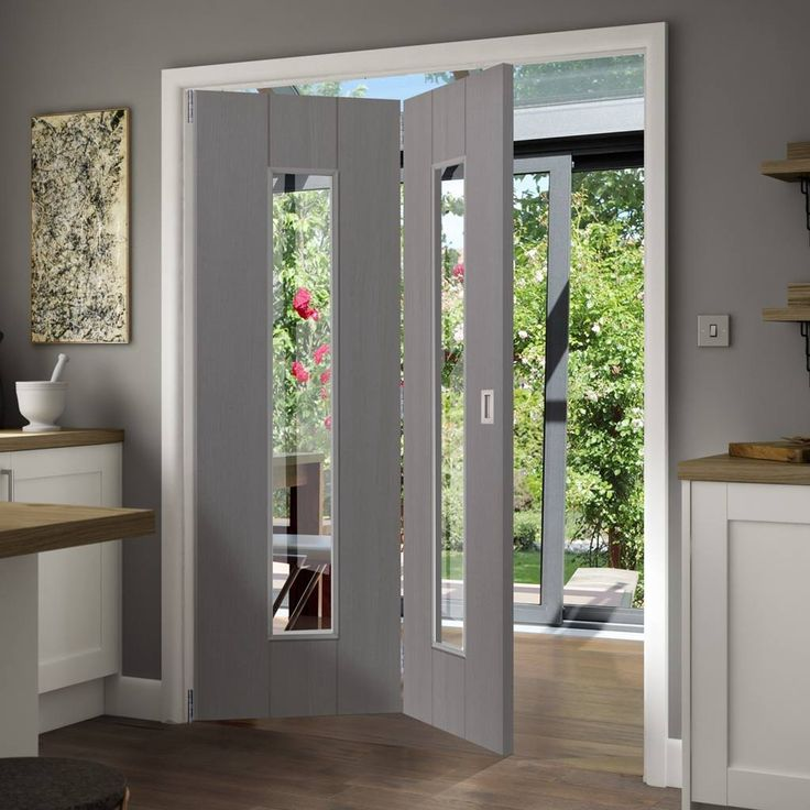 Thrufold Nuance Ardosia Slate Grey Flush 2+0 Folding Door - Clear Safety Glass, Pre-finished.      #foldingdoor #thrufold #greydoor #internaldoor #moderndoor #interiordesign #directdoors