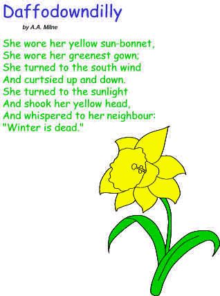 Spring Poetry (ages 4-11) this site has over 35 spring poems and each one is accompanied by an audio recording so you can hear the poem being read aloud! AND every poem has a free printable activity page to go with it. Authors include Mother Goose, A.A. Milne, William Wordsworth, and Robert Frost