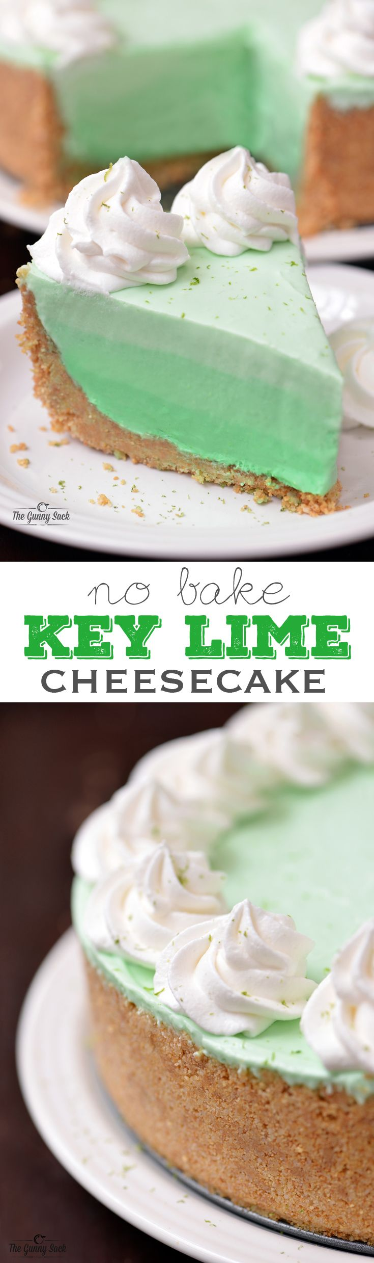 This key lime cheesecake is so easy to make, yet it looks impressive. This no bake recipe features a macadamia nut and graham cracker crust with an ombre cheesecake filling. #client