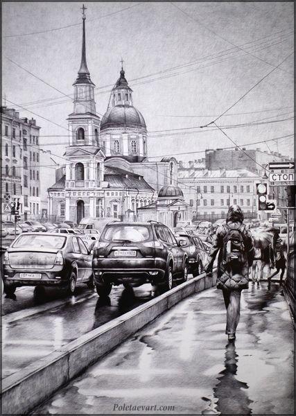 Rainy Peterburg - 2012 - 76 x 54 cm