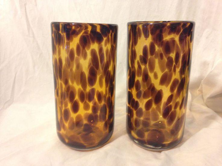 VTG 2 Hand Blown Brown Tan Neutral Cheetah Tortoise Tumbler Drink Glass Leopard