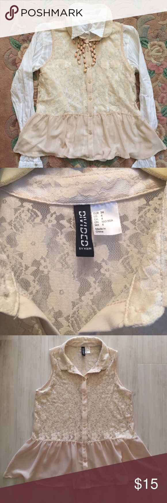 Divided by H&M Lace Peplum Top Super feminine lace top with sheer peplum flounce. Lace is stretchy. Beautiful blush color. Layer over a white button down shirt for the a look. Shirt is available in another listing. Like new. H&M Tops