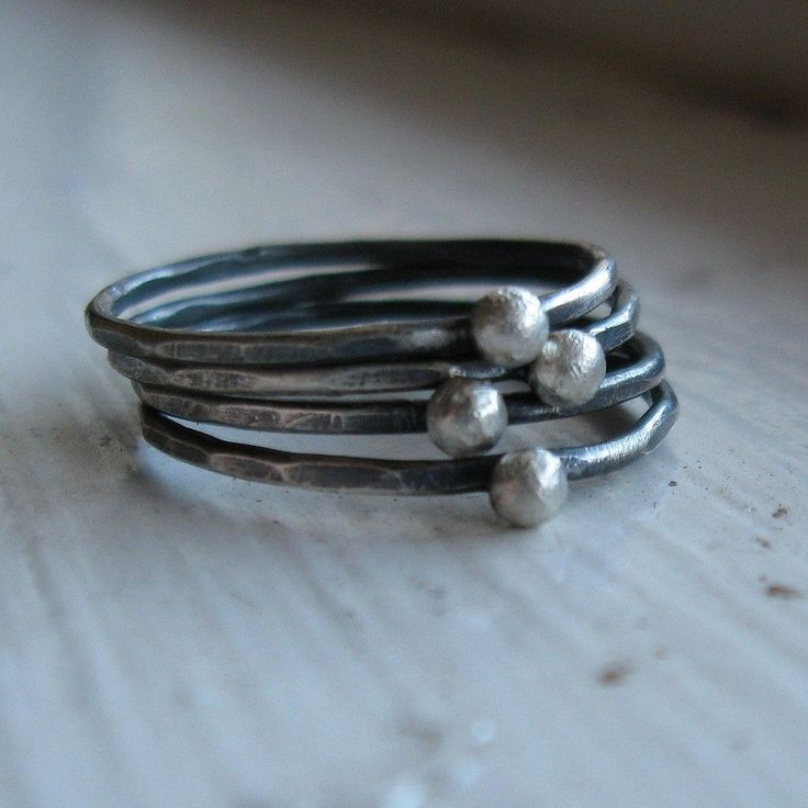 Silversmith rustic silver stacking rings