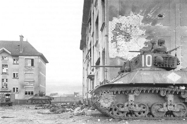 French tanks in Huningue, France, late 1944 (US Army Center of Military History)