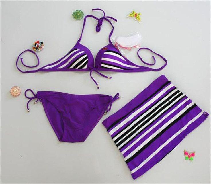 Women Sexy Navy Striped Bikini Push Up Swimwear Female Wire 3 Pieces Bathing Suit Dress Set Tankini Plus Size Summer Beachwear