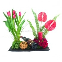 arreglos para hombres, flores finas, tulipanes rojos