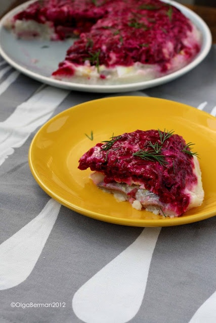 Shuba: Russian layered salad with herring, potatoes, eggs, beets & mayo. {Russian Recipes Revisited}