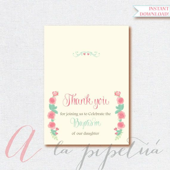 Thank You Card .Baptism Thank you card.Foldable Thank you card. Printable  diy Thank You card. Shabby chic thank you card. INSTANT DOWNLOAD