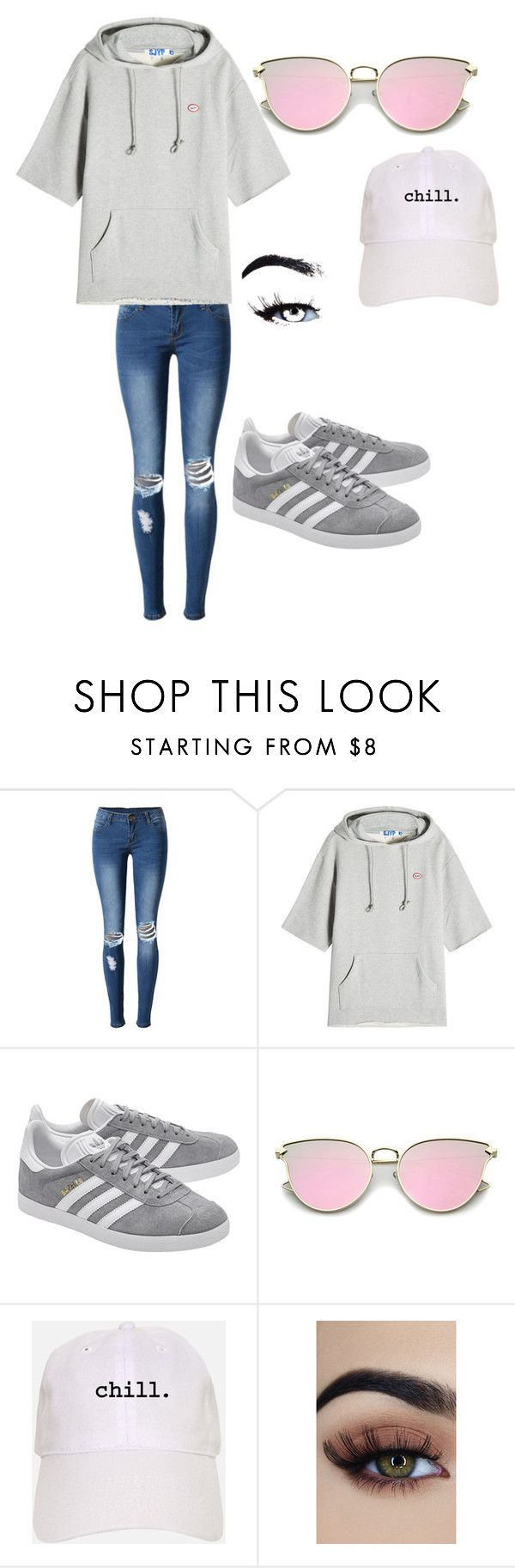 """Untitled #36"" by moriartylauren on Polyvore featuring WithChic, SJYP and adidas Originals"