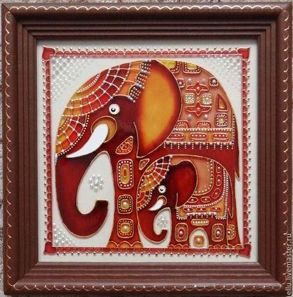 """Витражная картина """"Слоны"""", роспись по стеклу - слон,слоны,коричневый,Витраж"""