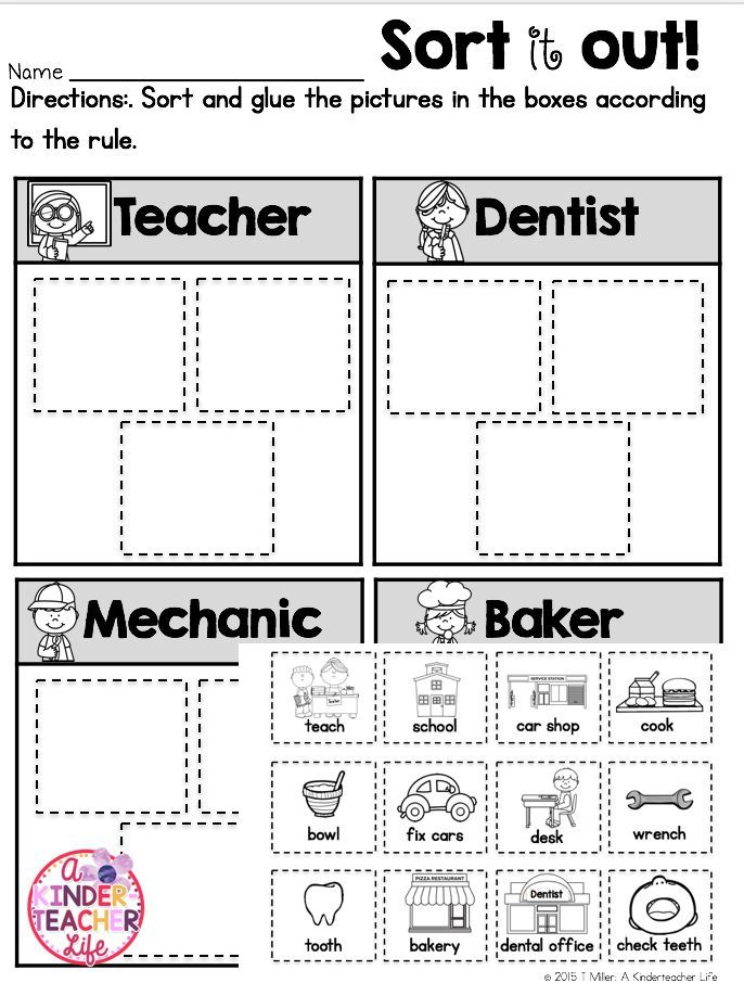 Sort community helpers  worksheet - jobs, tools and responsibility