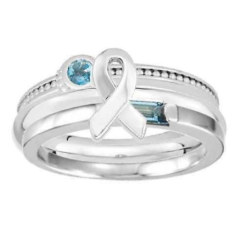 Sterling+Silver+Teal+Awareness+Ribbon+Stackable+Ring+Set+GG-TLSTK1