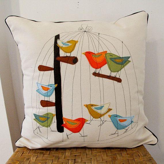 Birdie Birds in the Bird Cage Pillow by jennyjen42 on Etsy, $120.00