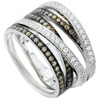 RG1110V/5BR ring met vijf kruisende fijne banden pav� bezet met witte en natuurlijk bruine diamanten