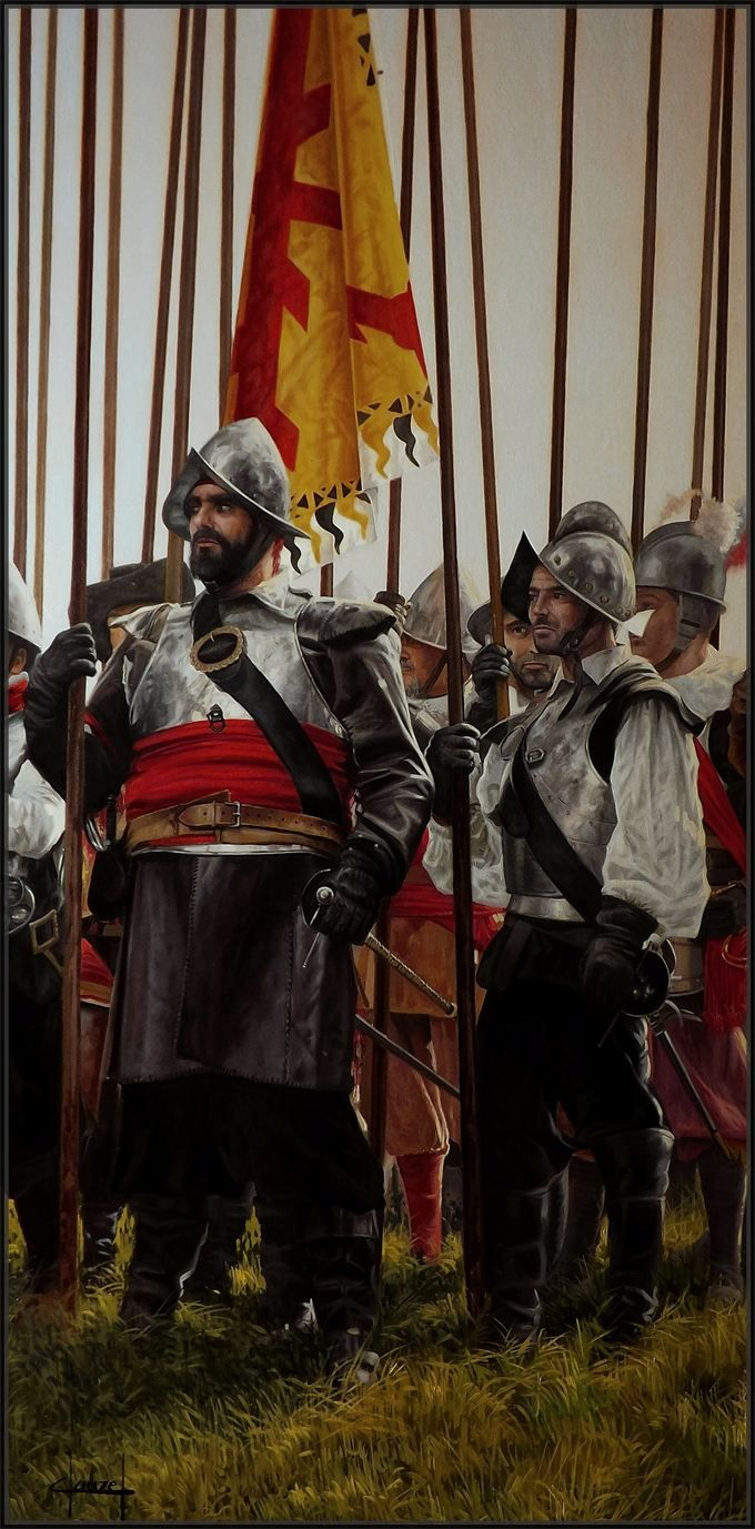 Spanish Tercio Pikemen, by José Ferre Clauzel.