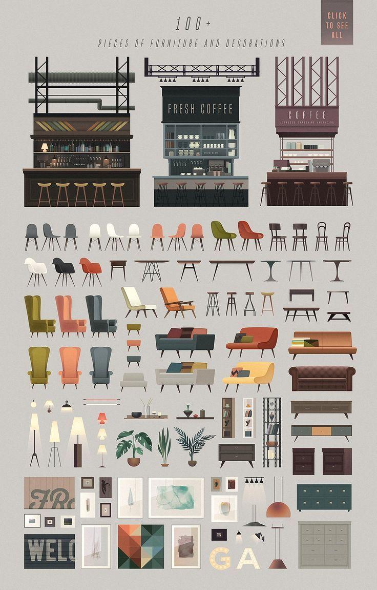 TRICKY scene creator – set of vector interior elem…