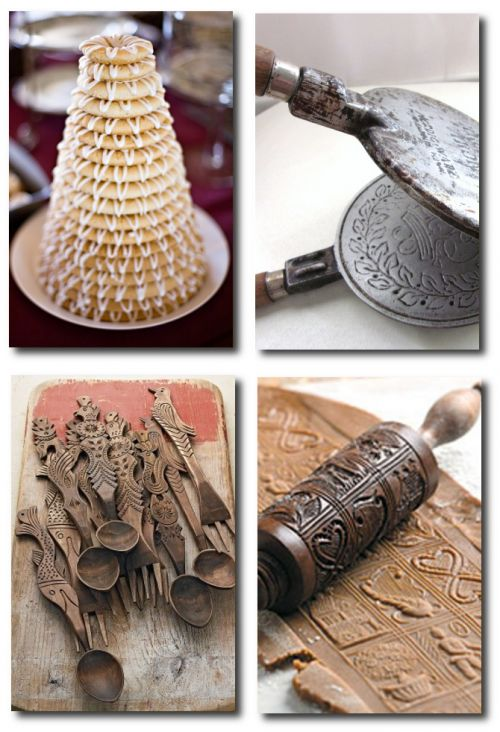 Norwegian Wedding Cake -The Knot  Krumkake Iron - Carved Norwegian Spoons - Springerle Rolling Pin.